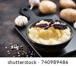 mashed potatoes with spices and ... | Shutterstock . vector #740989486