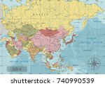 detailed asia political map in... | Shutterstock .eps vector #740990539