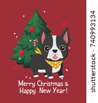 christmas card with dog breed...   Shutterstock .eps vector #740993134