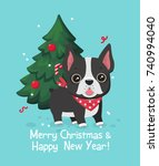 christmas card with dog breed... | Shutterstock .eps vector #740994040