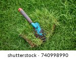 cut out lawn fragment and a... | Shutterstock . vector #740998990