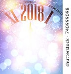 2018 new year sparkling... | Shutterstock .eps vector #740999098