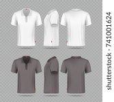 white black mens polo t shirt...   Shutterstock .eps vector #741001624