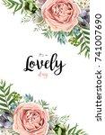 vector floral seamless pattern... | Shutterstock .eps vector #741007690