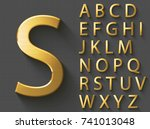 golden luxury 3d alphabet ... | Shutterstock .eps vector #741013048