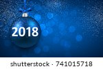 blue bokeh 2018 new year... | Shutterstock .eps vector #741015718