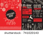 christmas food menu for... | Shutterstock .eps vector #741020143