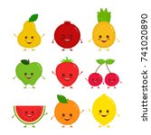 cute happy smiling funny raw... | Shutterstock .eps vector #741020890