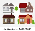 town house cottage  building... | Shutterstock .eps vector #741022849