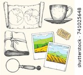 travel hand drawn set with... | Shutterstock .eps vector #741025648