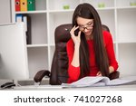 smiling business woman in red... | Shutterstock . vector #741027268