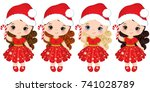 vector cute little girls... | Shutterstock .eps vector #741028789