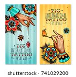 set of two vertical banners on... | Shutterstock .eps vector #741029200