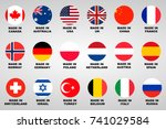 made in badges set 18 countries | Shutterstock .eps vector #741029584
