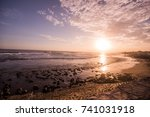 ocean waves rolling on the... | Shutterstock . vector #741031918