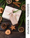christmas gift on the antique... | Shutterstock . vector #741033193