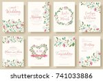 set of flower wedding ornament... | Shutterstock .eps vector #741033886