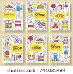 thin line happy people baking... | Shutterstock .eps vector #741035464