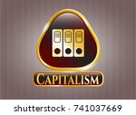 gold shiny badge with three... | Shutterstock .eps vector #741037669