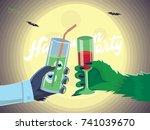 halloween party  flyer...   Shutterstock .eps vector #741039670