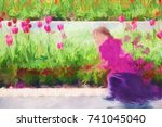 A Young Girl Running Through A...