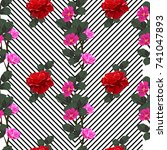 vintage seamless pattern with... | Shutterstock .eps vector #741047893