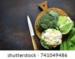 Raw Broccoli And Cauliflower On ...