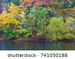 trees with leaves turning... | Shutterstock . vector #741050188