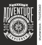 vintage great adventure... | Shutterstock . vector #741052660