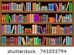 bookcase with books. vector... | Shutterstock .eps vector #741053794
