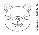 bear head contour | Shutterstock . vector #741054124
