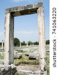 Small photo of Philippi City Library. These ruins from Ancient Philippi mark the doorway to the library in Philippi. This city was visited by St. Paul as recorded in Acts 16 of the Bible.