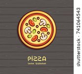 pizza top view vector... | Shutterstock .eps vector #741064543
