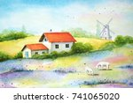 watercolor vivid painting of... | Shutterstock . vector #741065020
