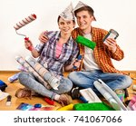 repair family by happy couple... | Shutterstock . vector #741067066