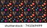 jewish holiday hanukkah...   Shutterstock .eps vector #741069499