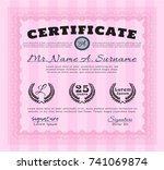 pink certificate diploma or... | Shutterstock .eps vector #741069874