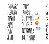 monthly handwriting set vector... | Shutterstock .eps vector #741072178