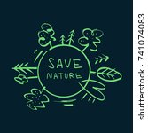 """vector label """"save nature"""".... 