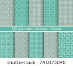 set of seamless line patterns.... | Shutterstock .eps vector #741075040