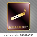 gold badge or emblem with... | Shutterstock .eps vector #741076858