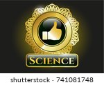 golden badge with like icon... | Shutterstock .eps vector #741081748