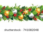 christmas seamless border...   Shutterstock .eps vector #741082048