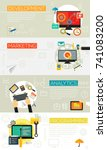 flat and linear concept banners.... | Shutterstock .eps vector #741083200