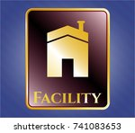 shiny badge with house icon... | Shutterstock .eps vector #741083653