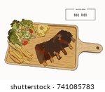 illustration of grilled spare... | Shutterstock .eps vector #741085783