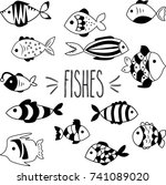 fishes black and white hand... | Shutterstock .eps vector #741089020