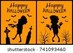happy halloween placard... | Shutterstock .eps vector #741093460