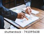 close up hands business man... | Shutterstock . vector #741095638