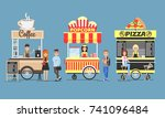 coffee  popcorn and pizza... | Shutterstock .eps vector #741096484